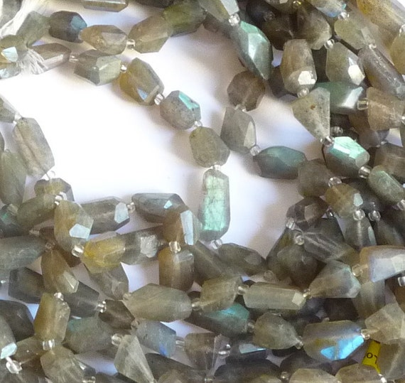 Firey Labradorite Faceted Nugget Beads