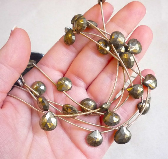 Natural Untreated Gold Pyrite Briolette Beads 8 Inches
