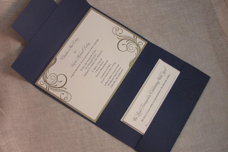 Navy Blue Wedding Invitations: Elegant Wedding Invitations Navy Blue Pocketfold Wedding