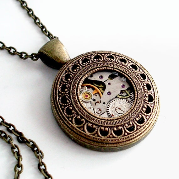 Captured in Time - Steampunk Necklace Bronze Jewelry Pendant