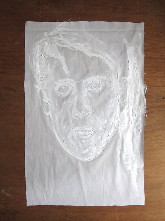 Young Man (Diane Arbus) - white on white original painting on fabric