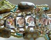Light, Lacey Artisan Beadwoven Bracelet Spring Green Pink