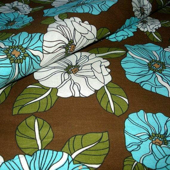 Fun Cotton FLORAL Fabric -  Aqua Morning Glories on Chocolate Brown