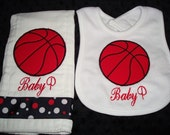 Baby P Personalized Bib and Burp- Choice of Name and BasketBall Applique