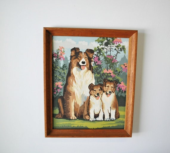 vintage Paint by Number Collie mom with puppies wood framed painting...