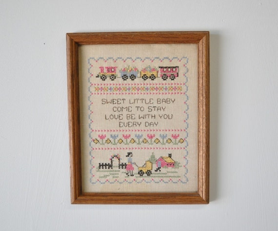 vintage wooden framed cross stitch Sampler