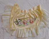 Vintage Hand Embroidered Apron Kitchen Yellow Flowers Stitched Embroidery