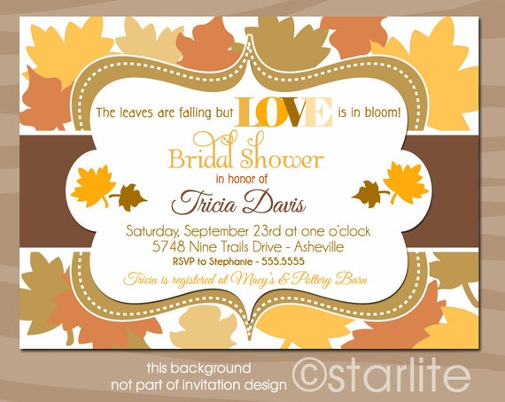 Autumn Bridal Shower Invitation, Fall Bridal Shower Invitation, Leaves Bridal Shower Invitation, Love is in Bloom, Printable, Printed