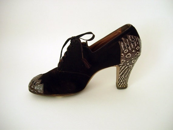 CHARMING Vintage 1930s 30s Art Deco Chocolate Brown Suede & Faux Snakeskin Detail Oxford Shoes - Size 7.5