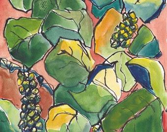 Art Painting Watercolor SeaGrape Tropical Foliage Tree Caribbean Print