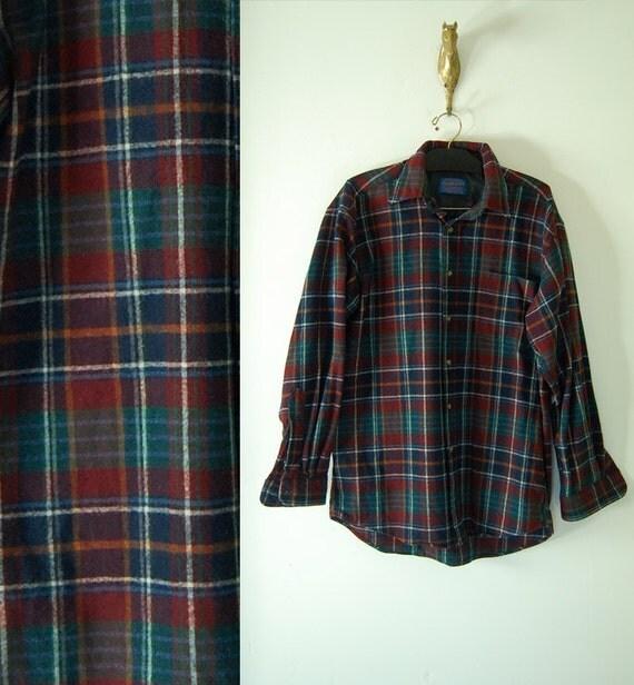 vintage mens wool PENDLETON PLAID SHIRT medium