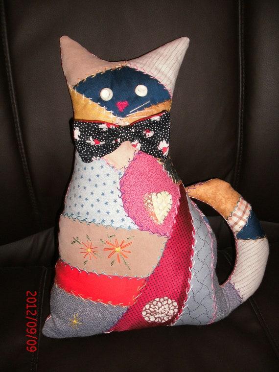 CRAZY QUILT Bowtie CAT Ooak Cat Pillow 10% off coupon