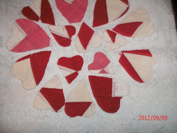 RED And WHITE VINTAGE cutter quilt hearts lot  for Christmas Crafts
