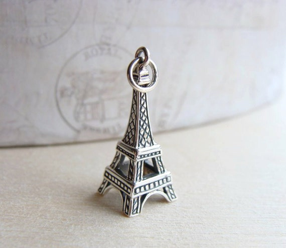 Eiffel Tower Pendant, Sterling Silver Pendant, Eiffel Tower Charm, 25mm, FALL SALE save 10% use code FALL10