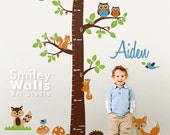 Personalized Growth Chart Wall Decal Woodland Animals Forest Animals Kids Nursery Vinyl Wall Decal Baby Room Decor Fox Owls Racoon Squirrels