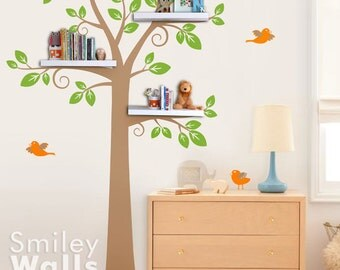 Shelves Tree Wall Decal Shelving Tree Wall Decal Tree Wall Decal Shelf Tree Wall Decal Nursery Wall Sticker Kids Room Decor