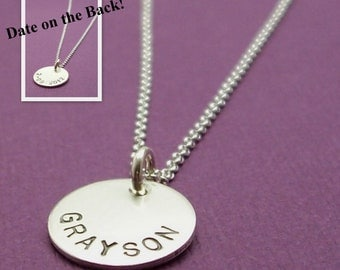 Personalized Necklace - NAME and DATE Necklace in Sterling Silver - Hand Stamped, Engraved TWO Sided Mother's Necklace