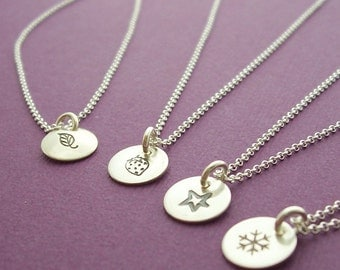 Mini Charm Necklace in Sterling Silver - You Pick the Design - Hand Stamped, Engraved Tiny Charm Necklace