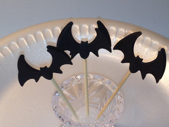 Bats, Halloween Party Picks, 12 Food Picks, Cup Cake Toppers, Birthday,  Appetizers Picks, Celebration, PAFA