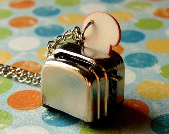 Miniature Toaster Necklace - Your Toast Is Ready - Miniature Food Jewelry - Toaster and Bread Necklace - Toaster Necklace - Fun Food Humor