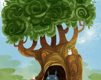Nearby a Totoro homage 5x7 print