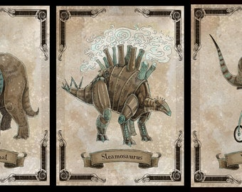 Black Friday / Cyber Monday Special Steamosaurus Trio of 5x7 prints