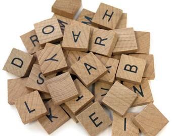 40 Pc Wooden Alphabet Tile Set Common Alphabet Crafts Scrapbooking 3/4in