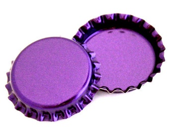 50 Metallic Purple Bottle Caps New Linerless