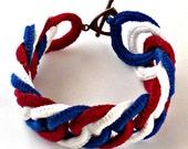 Irish Crochet Bracelet Fiber Bracelet Faux Chainmail Patriotic Red White Blue 4th of July Americana Bracelet Patriot Bracelet