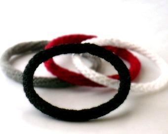 Crochet Bracelet Fiber Bracelet  Bangle Fine Thread Icord Black