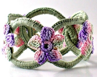 Crochet Bracelet Fiber Bracelet  Chainmail Bangle Sage with Pink Purple Sage Flowers