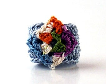 Crochet Ring Fiber Ring  Diamond Shape Ecru Indigo Purple Green and Orange on Country Blue Band