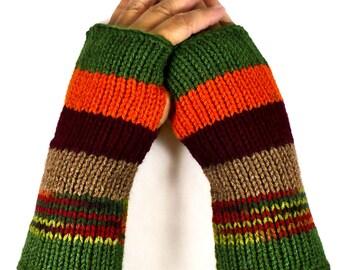 Knit Arm Warmers Striped Gloves Green Gloves Orange Winter Gloves Womens Warm Armwarmers Burgundy Cozy Gloves Brown Fashion Gloves