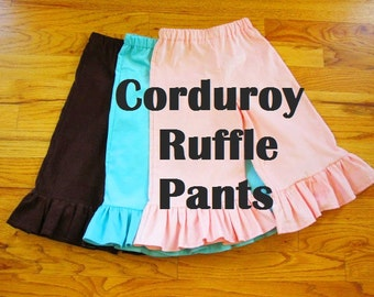 NEW design - Girls Corduroy Ruffle Pants in YOUR CHOICE of solids - 3 months to size 8 - a rainbow of colors available