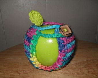 Crocheted apple cozy in rainbow colors
