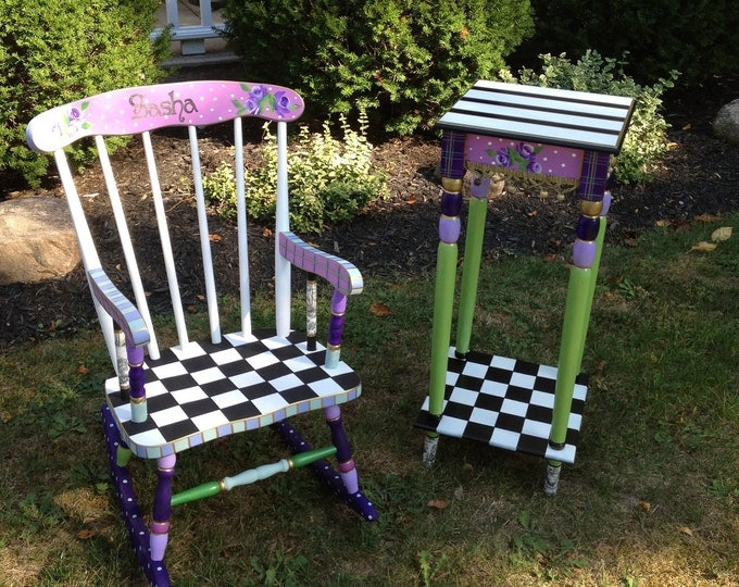 Whimsical Painted Furniture, CUSTOM Hand Painted Childs Rocking Chair