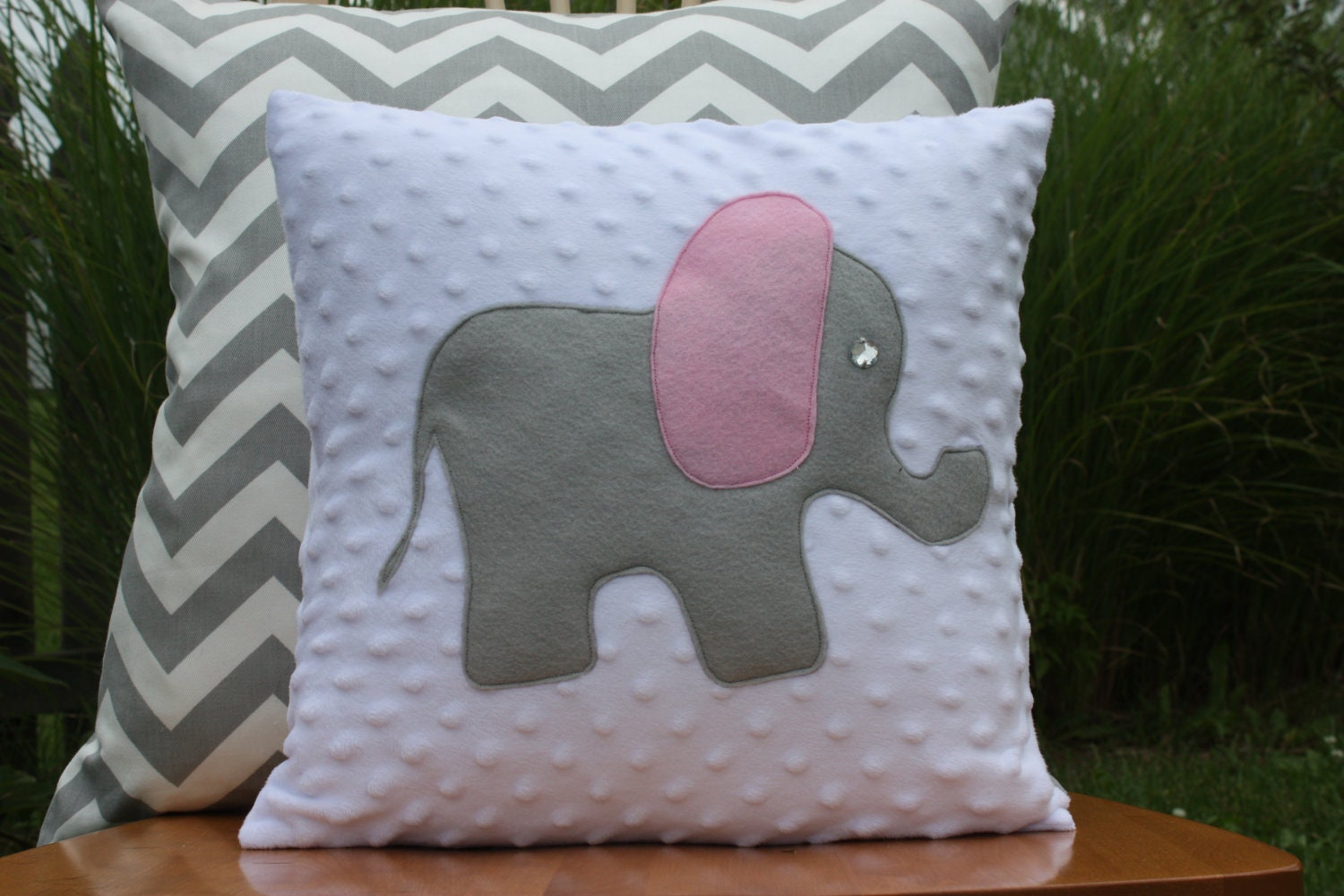 Pink And Grey Elephant Pillow Cover