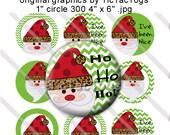 Santa Chevron Ho Ho Ho Sayings Bottle Cap Images Digital Collage 1 Inch Circle Holiday Christmas - Instant Download - BC354