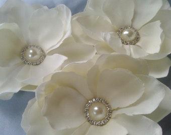 3 Ivory Bloom Bridal Hair Pins Pearl Rhinestone Accent