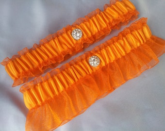 Orange Garter Set with Rhinestone Accent Wedding Garter Set Bridal Garter