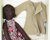 June, Brown Haired, Brown Eyed, Calliope Rag Doll, Vegan, 19 inches, OOAK, VIntage Upcycled Fabrics, Handmade in Australia