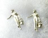 Sterling silver earrings-Farmer girl-handmade