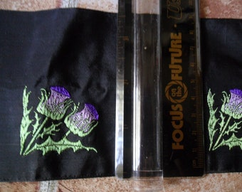 """Vintage Purple Embroidered Flowers against Black background - 1 yard length x 3 3/5"""" width"""