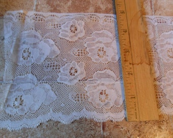 "Vintage 5"" wide White flat lace trim or 6 yards total"
