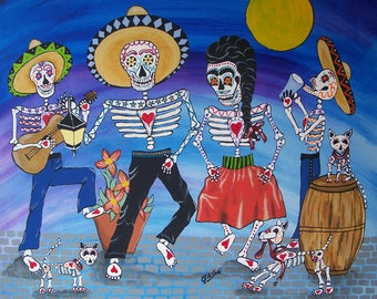 """Day Of The Dead """"Street Party"""" Frida Kahlo and Diego Rivera 8x10"""" Art Print Poster Mexican Folk Artist J Ellison"""