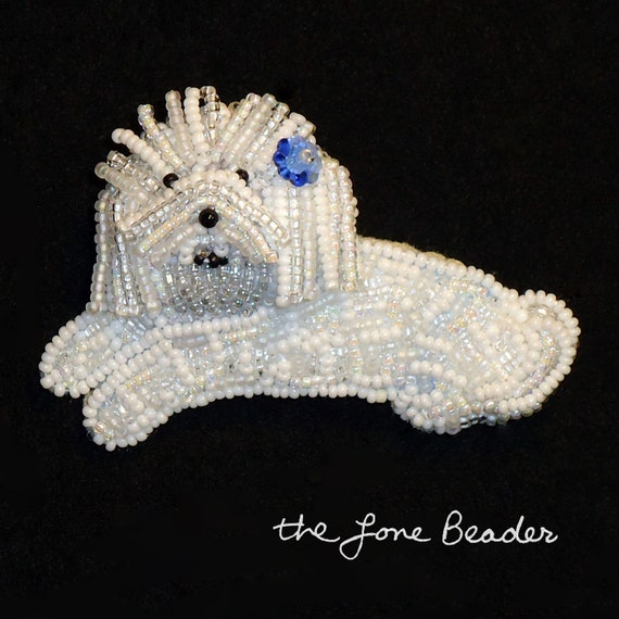 SALE Beaded BICHON FRISE dog art keepsake pin/ pendant w/ blue flower(Ready to ship)