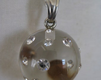 Clear Ball Necklace Rhinestone Silver Vintage Pendant