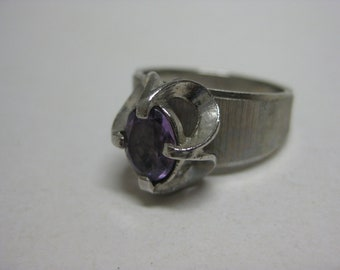Amethyst Silver Ring Purple Stone Vintage Size 8 1/4