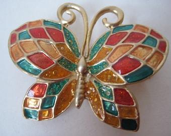 Butterfly Orange Green Gold Brooch Vintage Pin
