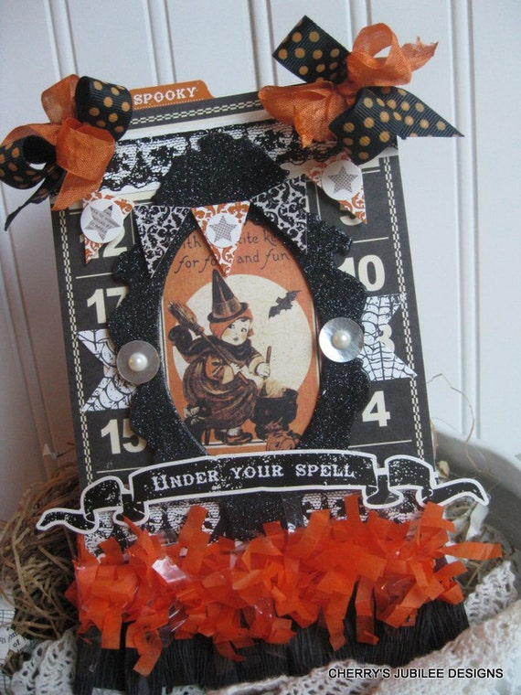 Vintage Style Halloween LITTLE WITCH Under Your Spell Banner